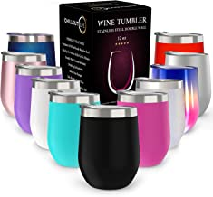 CHILLOUT LIFE 12 oz Stainless Steel Tumbler with Lid & Gift Box   Wine Tumbler Double Wall Vacuum Insulated Travel Tumbler Cup for Coffee, Wine, Cocktails, Ice Cream, Powder Coated Tumbler