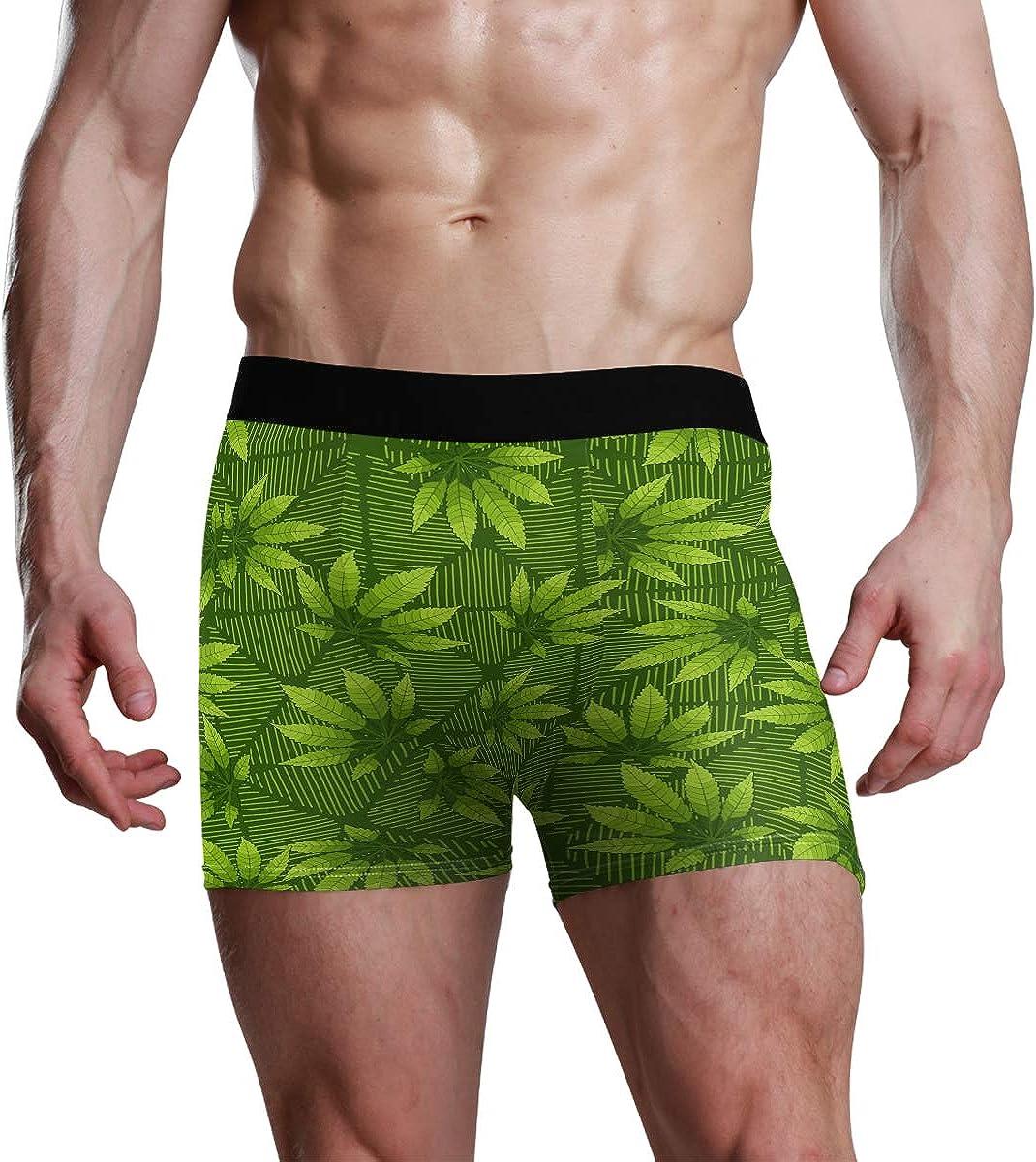 HangWang Men's Boxer Briefs Green Leaves Background Bikini Underwear Stretch Trunks Boys Underpants