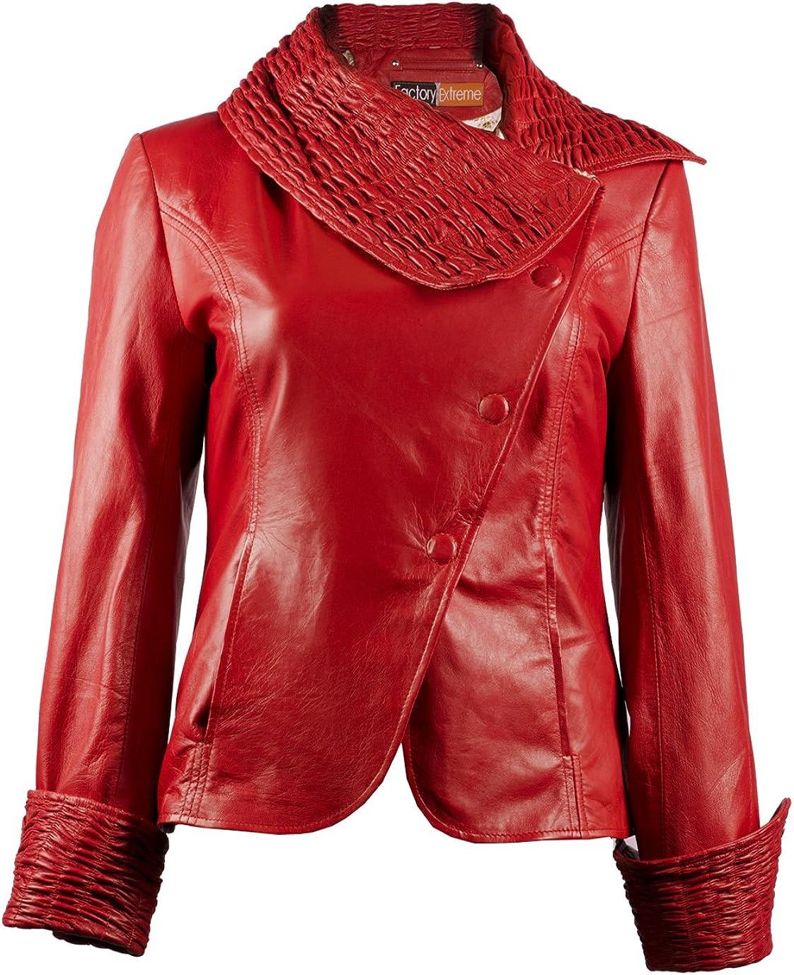 FE Ruche Red Leather Jacket Blazer for Women | Single-Breasted Stylish Ladies Coat Jacket