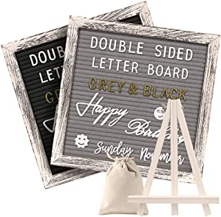 Tukuos Double Sided Felt Letter Board with Rustic Wood Frame,750 Precut Gold & White Letters,Months & Days & Script Cursive Words,Wall & Tabletop Display Decor,Storage Ponch(10x10in)