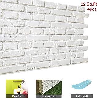 Faux Brick Wall Panels DIY Wall Decoration with Rustic Design Faux Rust Tuscan 3D Brick Wall Panels for Interior Wall Exterior Wall (32 Square Feet, Matt White, VB)
