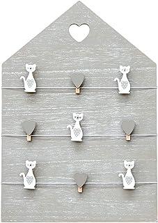 Marco de fotos de madera para porta fotos multiple con pinzas 42 x 30 cm tablón de fotos, de mensajes, tablero de notas, panel de pared para colgar con pinzas de corazones y gatos decoración del casa