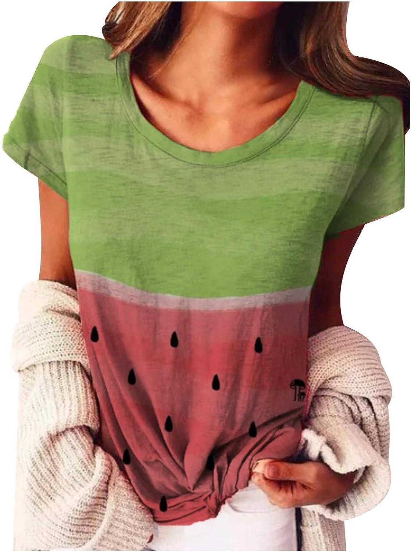 Sunlucky Women Blouses Summer Casual Crewneck Short Sleeve Shirts Tops Tee