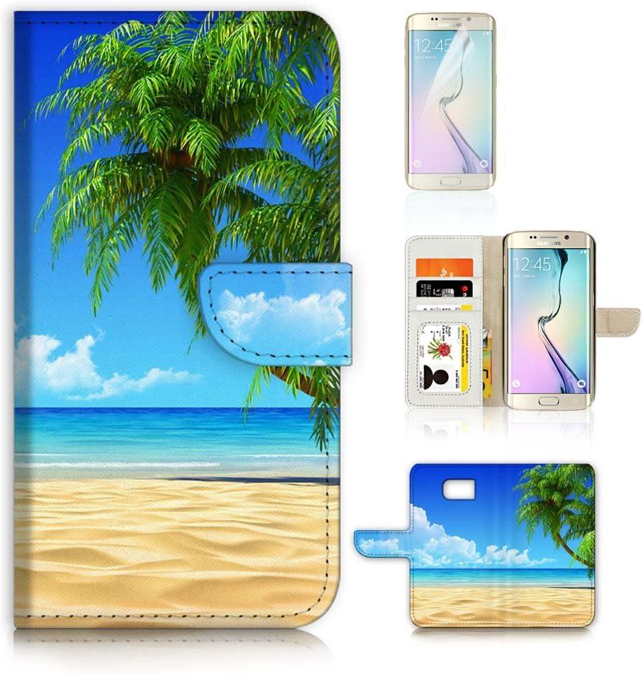 (for Samsung S7 Edge, Galaxy S7 Edge) Flip Wallet Case Cover & Screen Protector Bundle - A20101 Beach Tree