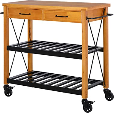 "HOMCOM 46"" Rolling Kitchen Storage Island on 360° Swivel Wheels Dining Cart Organizer for Kitchen Rubber Wood"