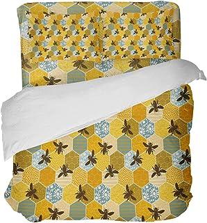 LnimioAOX Juego de Funda nórdica de 3 Piezas con diseño de Relleno de Abejas y Panal con Estampado de Flores con 2 Fundas Decorativas para Colcha, sábanas