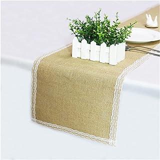 SRXSMGS Bordslöpare Naturligt jute linne bordsduk dekoration tillbehör till bröllopsfest bankett hem dekoration (Color : ...