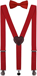 PZLE Boys Suspenders and Bow Tie Set Adjustable 30 Inches Red