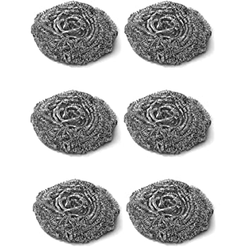 Brite Guard Stainless Steel Scrubber (Grey, 6 Pieces)