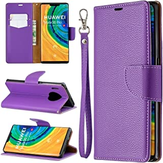 For Huawei Mate 30 Pro Litchi Texture Pure Color Horizontal Flip PU Leather Case with Holder & Card Slots & Wallet & Lanyard New (Dark Blue) Lyaoo (Color : Purple)