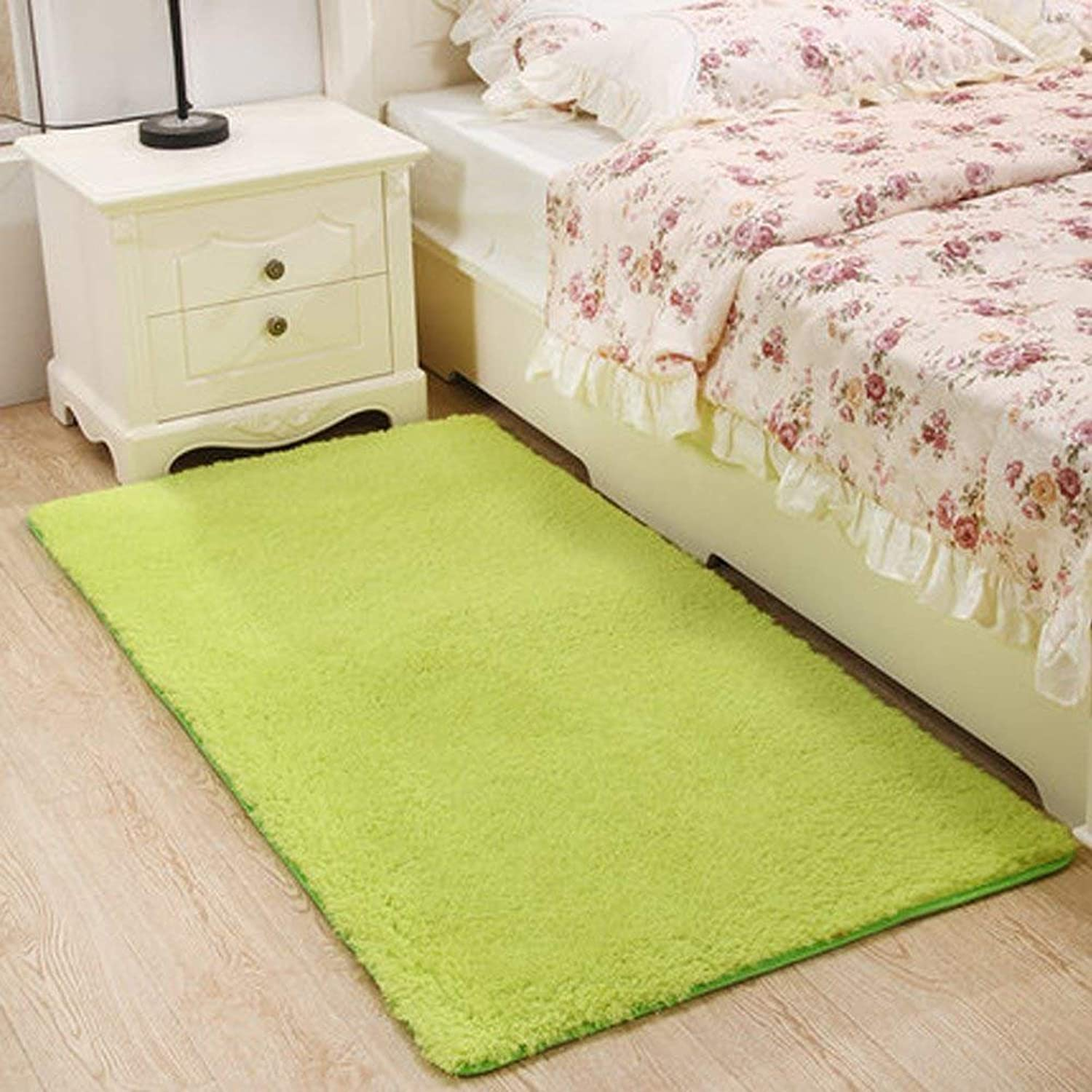 Padded Washable Carpets Carpets of The Bedside (color Green, Size  80x160cm)
