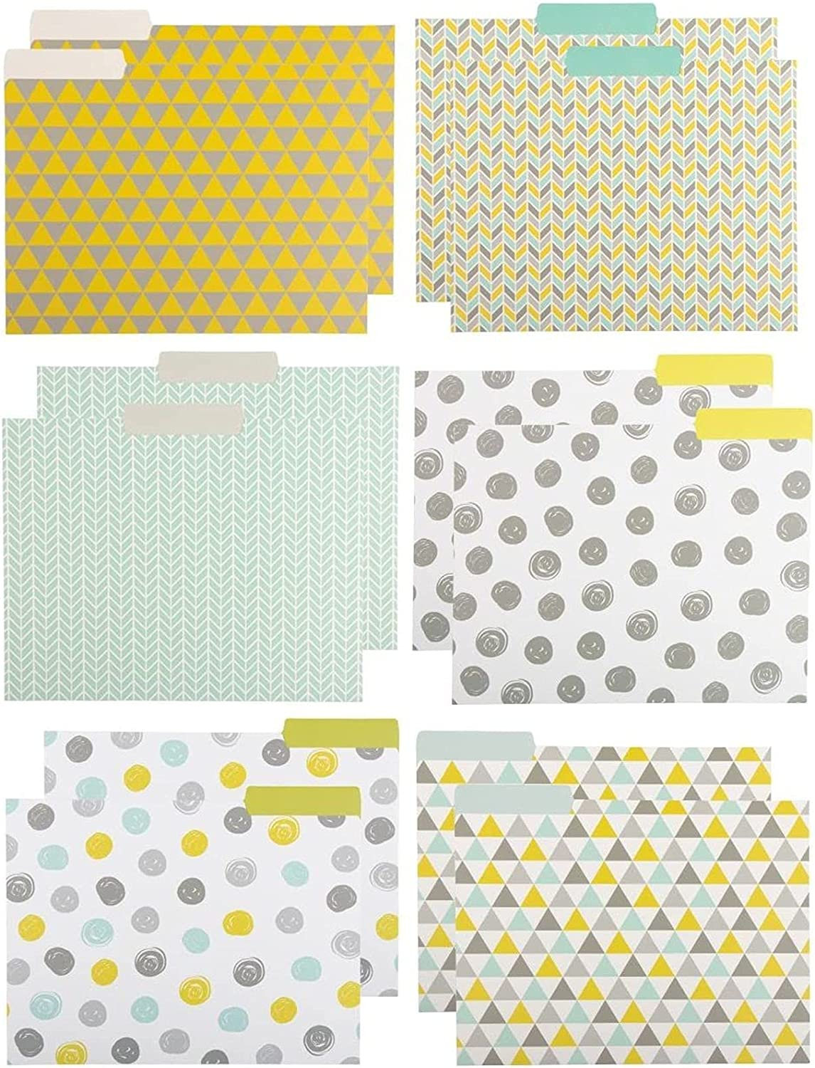 File Folders with Geometric Design, Letter Size (9.5 x 11.5 Inches, 12 Pack)
