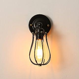 Applique murale industrielle, Ajustable Rétro Metal Applique, Noir E27 Abat-jour Cage Lampe Murale, Vintage Luminaire Inté...