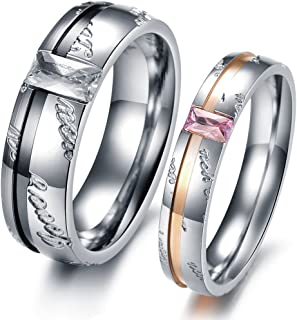 Dreamslink Love You Carved Couple Ring Black & Rose Gold Plated Stainless Stell Wedding Bands 327