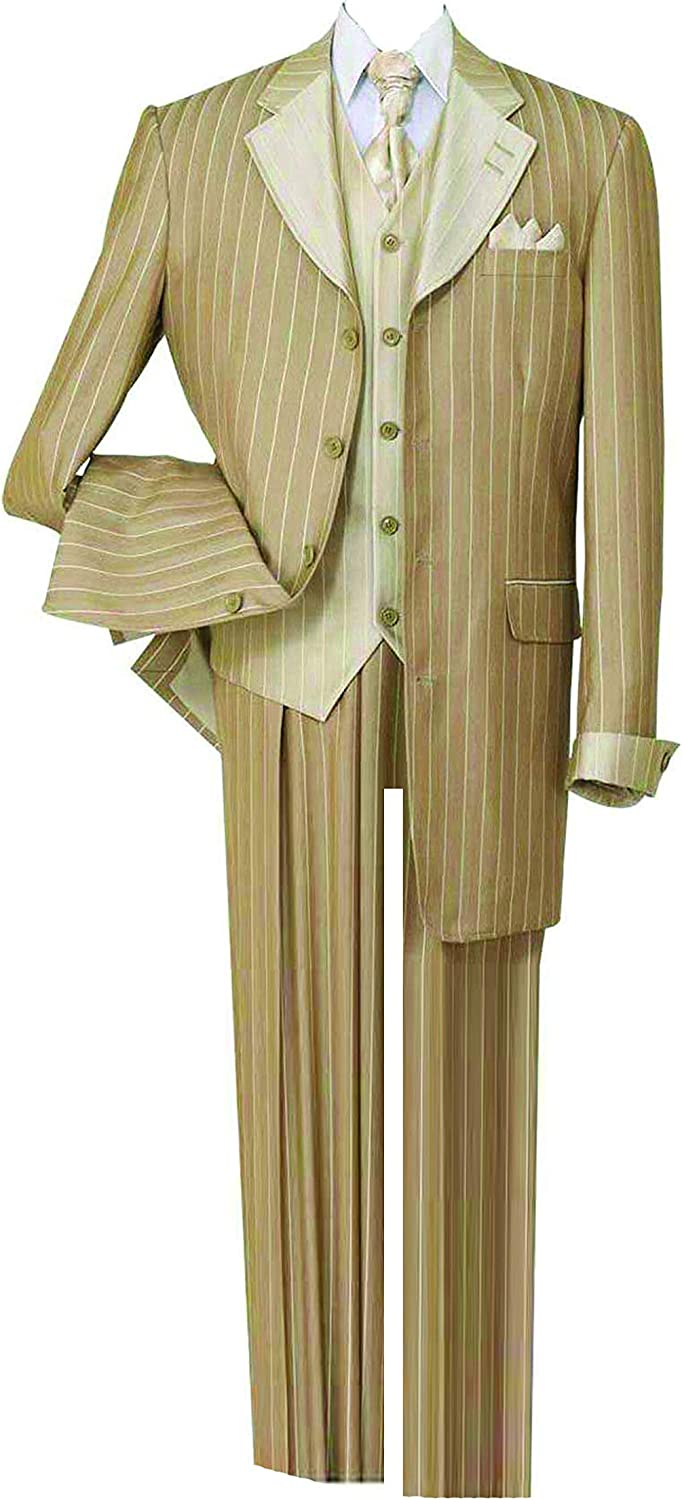 Super popular specialty store Milano Moda Pinestripe Max 68% OFF Fashion Suit Contrast Collar with Cuffs