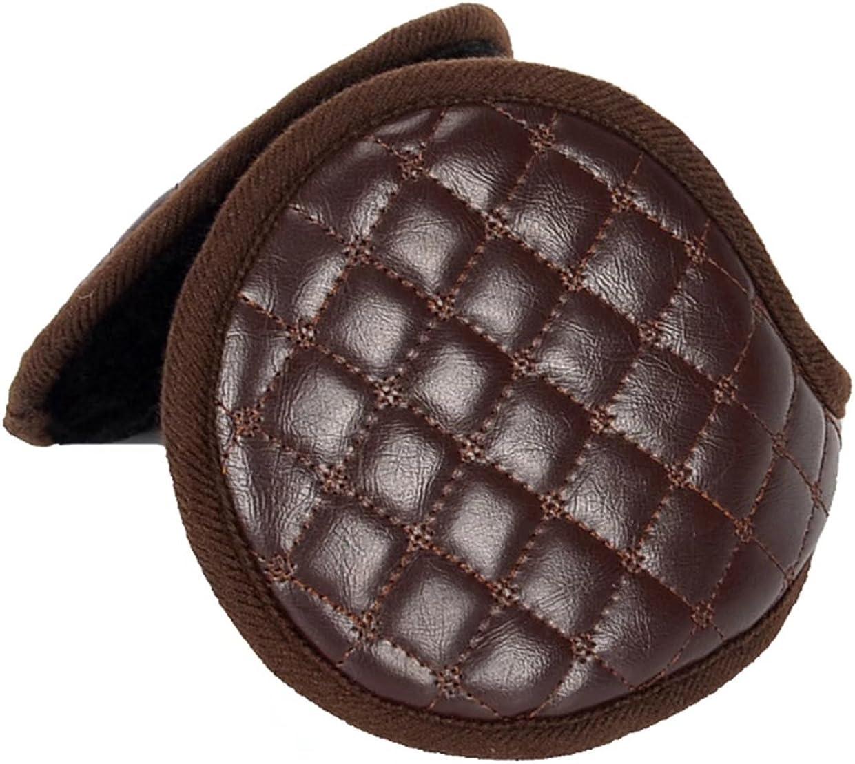 Unisex Leather EarMuffs Faux Furry Earwarmer Winter Outdoor EarMuffs