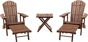 Brown Finish Wood 3 Piece Oversized Adirondack Chair Set Outdoor Furniture 2 Adirondack Chairs with Pull Out Ottomans and Side Table