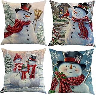 XIECCX Throw Pillow Covers Decorative Pillowcases Christmas Snowman Snowflake Theme 4 Pack-Soft Linen Cotton Design Cushion Cover for Sofa,Bedroom,Chair,Car Seat,Farmhouse 18 x 18