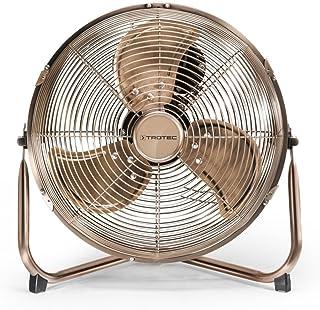 TROTEC Ventilador de Suelo TVM 11, 37 W, 3 Velocidades de Ventilación, Portátil, Silencioso, Inclinación Regulable 100°, Pie de Apoyo Estable y Antideslizante, Hogar, Oficina, Vintage, Bronce