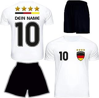 DE FANSHOP Deutschland Trikot 2021 mit Hose GRATIS Wunschname  Nummer im EM WM Weiß Typ #DE1ths - Geschenke für Kinder Erw. Jungen Baby Fußball T-Shirt Bedrucken