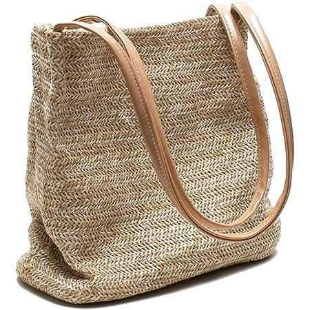Ulisty Klein Stroh Tasche Weben Tasche Schultertasche Handtasche Beuteltasche für Frauen/Mädchen Khaki