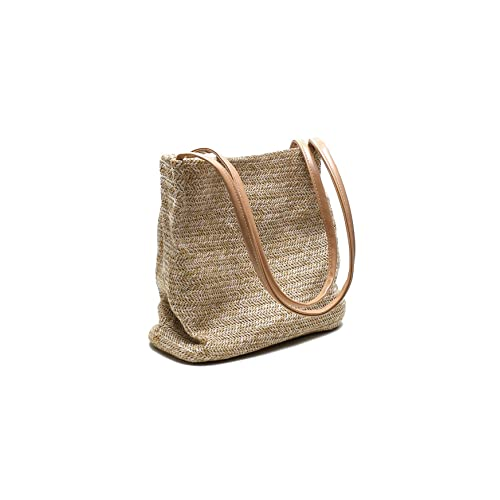 ccc5214f29 Howoo Straw Bag Weave Bag Shoulder Bag Handbag Bucket Bag for Women Girls  Khaki