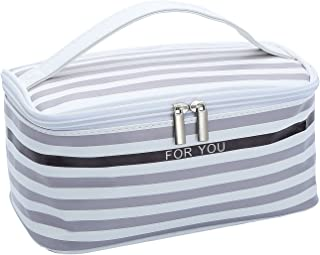 HOYOFO Portable Travel Makeup Bag Women's Cosmetic Bags Toiletry Storage Stripe, L