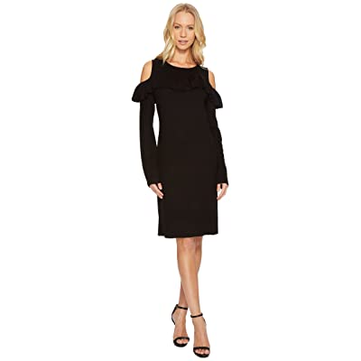 CATHERINE Catherine Malandrino Cold Shoulder Ruffle Yoke Bodycon Dress (Black Beauty) Women