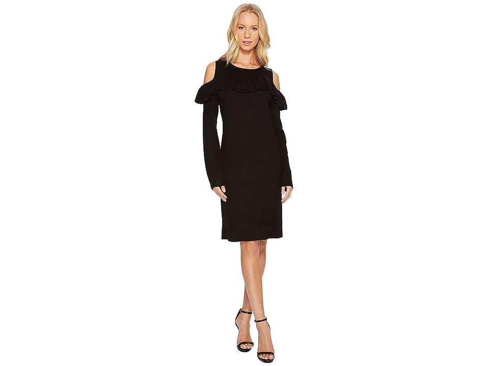CATHERINE Catherine Malandrino Cold Shoulder Ruffle Yoke Bodycon Dress (Black Beauty) Women