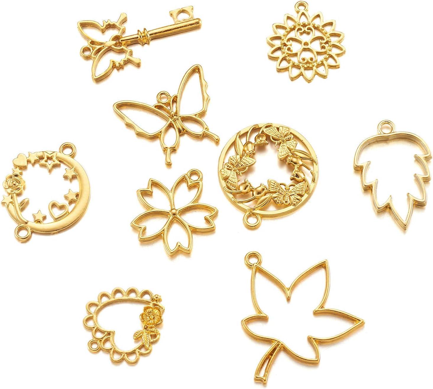 Pandahall 10pcs Antique Bronze Alloy Open Back Bezel Pendants 33.9x20.5mm Hollow Frame Pendant Blanks for DIY Epoxy Resin Pressed Flower Jewelry