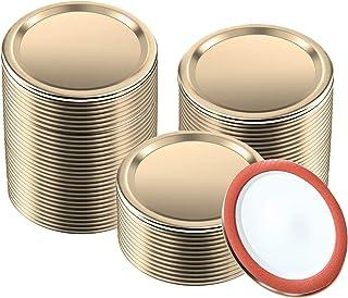 100pcs Regular Mouth Canning Lids,70mm Mason Jar Lids for Canning, Reusable Leak Proof Split-type Gold Lids, Food Grade Ma...