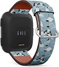 Compatible with Fitbit Versa/Versa 2 / Versa LITE - Quick Release Leather Wristband Bracelet Replacement Accessory Band - Japanese Cranes Clouds