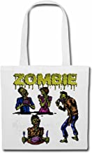 """Shoulder Bag""""ZOMBIE AT LUNCH WITH SUNGLASSES BIKER SHIRT WALKING ZOMBIE MOTORCYCLE CLUB DEAD GOTHIC CHOPPER DIXON BAND SHIRT"""" Bag school bag in white"""