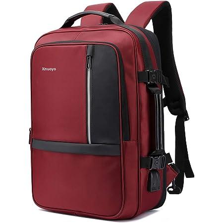 Xnuoyo 17.3 Pouces Sac à Dos Ordinateur Portable, Extensible TSA Sac à Dos d'affaires avec Chargeur USB et Port de Casque (Rouge Foncé)