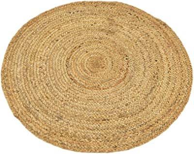 Unique Loom Braided Jute Collection Hand Woven Natural Fibers Natural/Tan Round Rug (3' 3 x 3' 3)