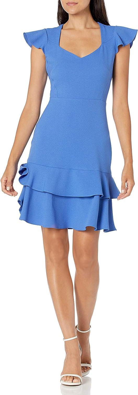 NINE WEST Women's Textured Crepe Tier Skirt Dress