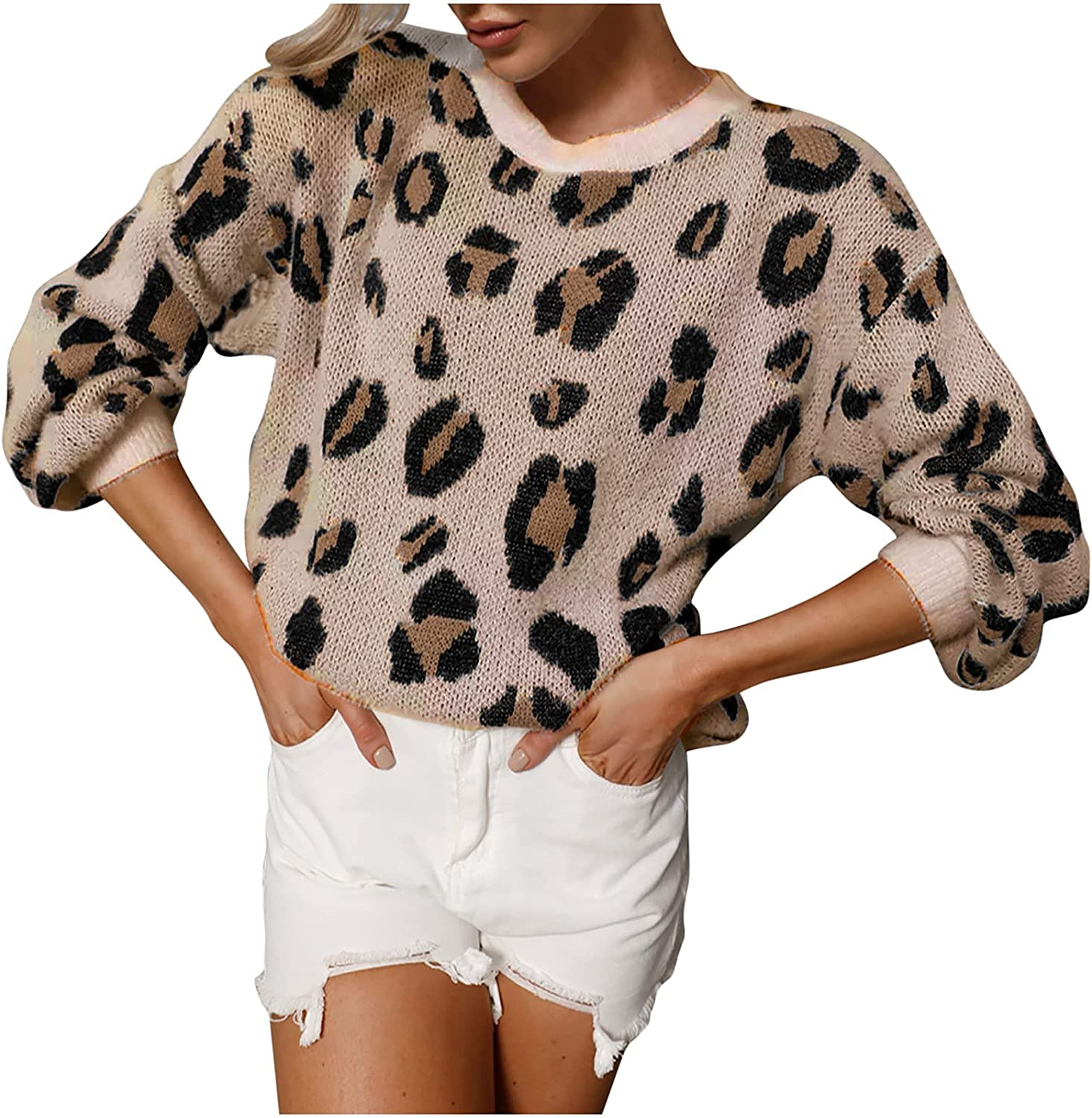 Round Neck Leopard Print Knitted Pullover Sweater Tops for Women Balloon Sleeve Crewneck Casual Loose Sweatshirts