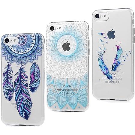 3x Cover iPhone 7, Custodia Silicone Ultra Sottile Antiscivolo Antiurto Slim Bumper Case per iPhone 7, Totem Blu Piuma Colorato Acchiappasogni