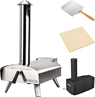"""Mimiuo Portable Wood Pellet Pizza Oven with 13"""" Pizza Stone & Foldable Pizza Peel - Stainless Steel Wood-Fired Pizza Oven ..."""