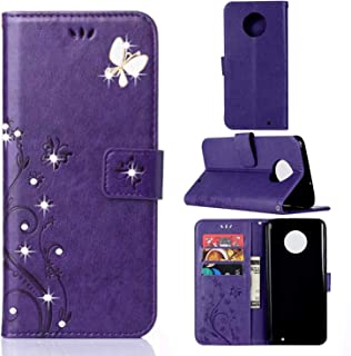 Moto G6 Plus Case, Moto G Plus (6th Generation) Wallet Case,Moto G6 Plus PU Leather Case Emboss Butterfly Flower Card Holder Flip Case for Motorola Moto G6 Plus 5.9 Inch 2018 Purple/Bling