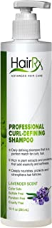 HairRx Professional Curl-Defining Shampoo with Pump, Light Lather, Lavender Scent, 10 Ounce