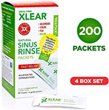 Xylitol Neti Pot Sinus Rinse Packets by Xlear (50 Count, 4 Pack): Nasal Irrigation Solution for Allergies, Colds - The Revolutionary Formula for Congestion Relief - Total count: 200 packet