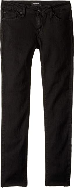 Five-Pocket Raw Hem Ankle Skinny - French Terry in Warrior Black (Big Kids)