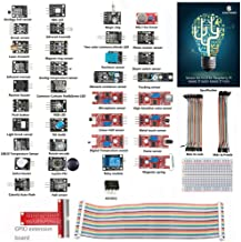SunFounder Basic Sensor Kit for Raspberry Pi 3, 2 and RPi 1 Model B+, 40-Pin GPIO Extension Board Jump Wires - Including 91 Page Instructions Book