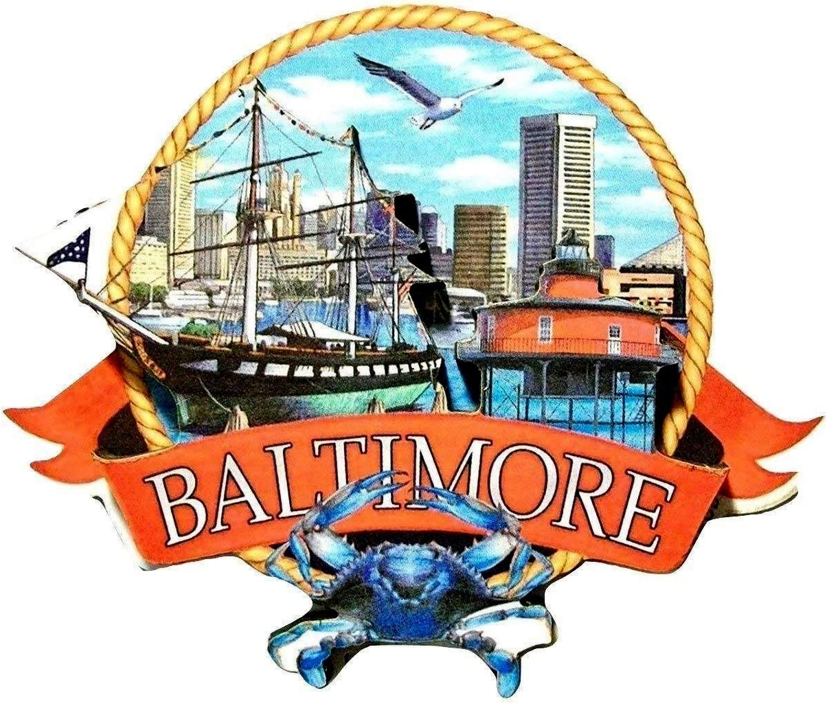Baltimore Maryland Montage Artwood Magnet Fridge excellence store
