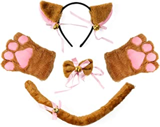 Cat Cosplay Costume Accessories Kitten Ears Tail Collar Paws for Women Girl Halloween Dress Up