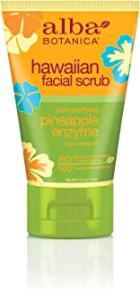 Alba Botanica Pore Purifying Pineapple Enzyme Hawaiian Facial Scrub, 4 oz. (Pack of 6)