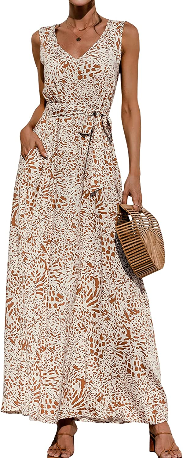 WEEPINLEE Womens Sleeveless V Neck Waist Lace Up Printed Long Dress Casual Summer Dresses