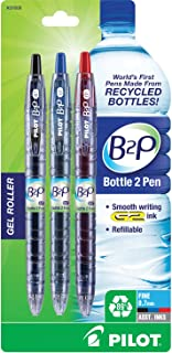 Pilot Bottle-2-Pen (B2P) - Retractable Premium Gel Roller Pens Made from Recycled Bottles (3 Count) Fine Point, 1 Each Black/Blue/Red G2 Gel Ink, Refillable, Comfortable Grip (31608)