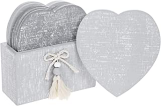 Provence Collection Cool Grey Shabby Chic Heart Shaped Coasters - Set of 6 in Coaster Holder